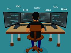 Vector image of man seated at computer
