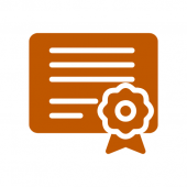 Icon in burnt orange of a certificate and a ribbon