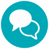 Graphic image showing two overlapping speech bubbles
