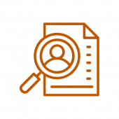 Icon in burnt orange with a magnifying glass over a resume paper