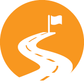 An icon of a winding road heading towards a flag.