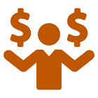 Simple drawing of a person juggling dollar signs