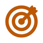 Drawing of a round target with an arrow at the center